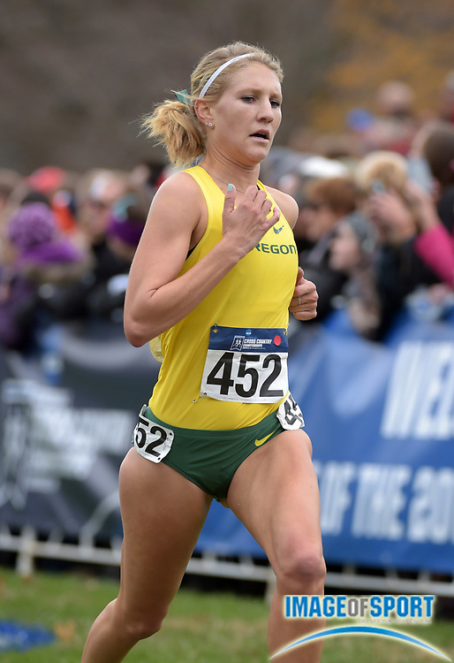Nov 21, 2015; Louisville, KY, USA; Molly Grabill of Oregon places 33rd in 21:21 during the 2015 NCAA cross country championships at Tom Sawyer Park. Mandatory Credit: Kirby Lee-USA TODAY Sports