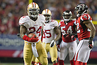 20 January 2013: Runningback (24) Anthony Dixon of the San Francisco 49ers celebrates after a run against the Atlanta Falcons during the second half of the 49ers 28-24 victory over the Falcons in the NFC Championship Game at the Georgia Dome in Atlanta, GA.