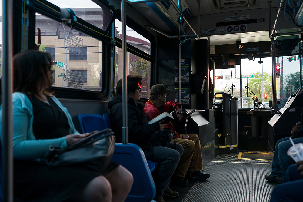 A view from inside a Metro Transit bus on First Street in Madison, WI on Thursday, May 16, 2019.