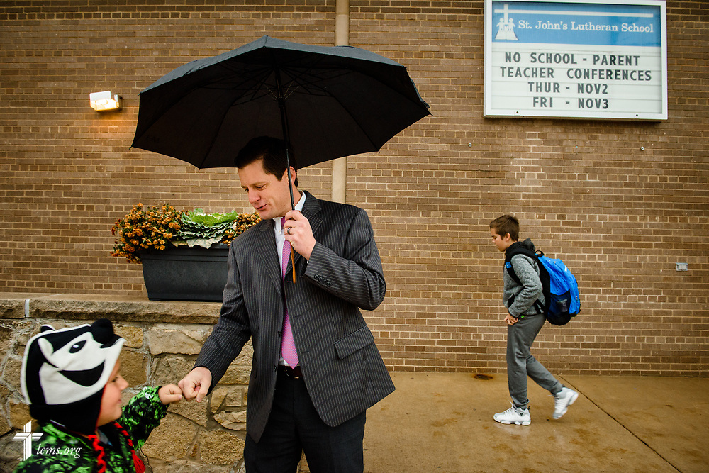 Kevin Charpentier, principal at St. John's Lutheran School, greets arriving students on Wednesday, Nov. 15, 2017, in Racine, Wis. LCMS Communications/Erik M. Lunsford