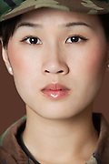 Close-up portrait of beautiful young US Marine Corps soldier
