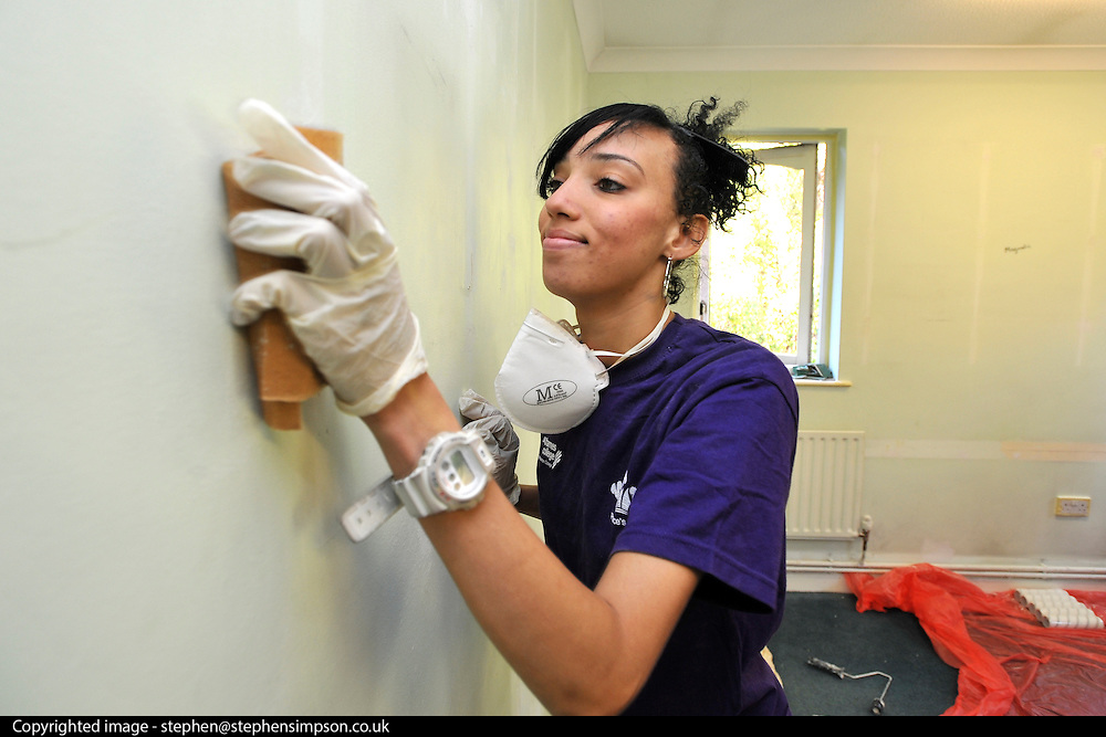 ©INS News Agency Ltd...  19/10/2010. Leonie Myrie-Powell. Benedict Cumberbatch helps out with the Prince's Trust 'Make a Change Week' by helping decorate classrooms at Cricket Green School in Mitcham London.