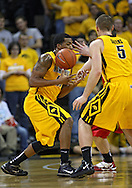 January 27, 2010: Iowa forward Jarryd Cole (50) can't hang onto the ball during the first half of their game at Carver-Hawkeye Arena in Iowa City, Iowa on January 27, 2010. Ohio State defeated Iowa 65-57.