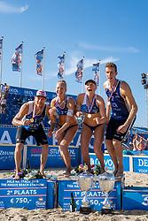 25-08-2019 NED: DELA NK Beach Volleyball, Scheveningen<br /> Last day NK Beachvolleyball / Alexander Brouwer #1, Pleun Ypma #2, Emma Piersma #1, Christiaan Varenhorst #2