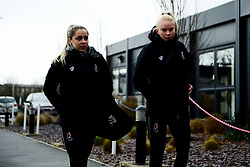 Poppy Pattinson and Jess Woolley arrives at Stoke Gifford Stadium prior to kick off - Mandatory by-line: Ryan Hiscott/JMP - 08/12/2019 - FOOTBALL - Stoke Gifford Stadium - Bristol, England - Bristol City Women v Birmingham City Women - Barclays FA Women's Super League