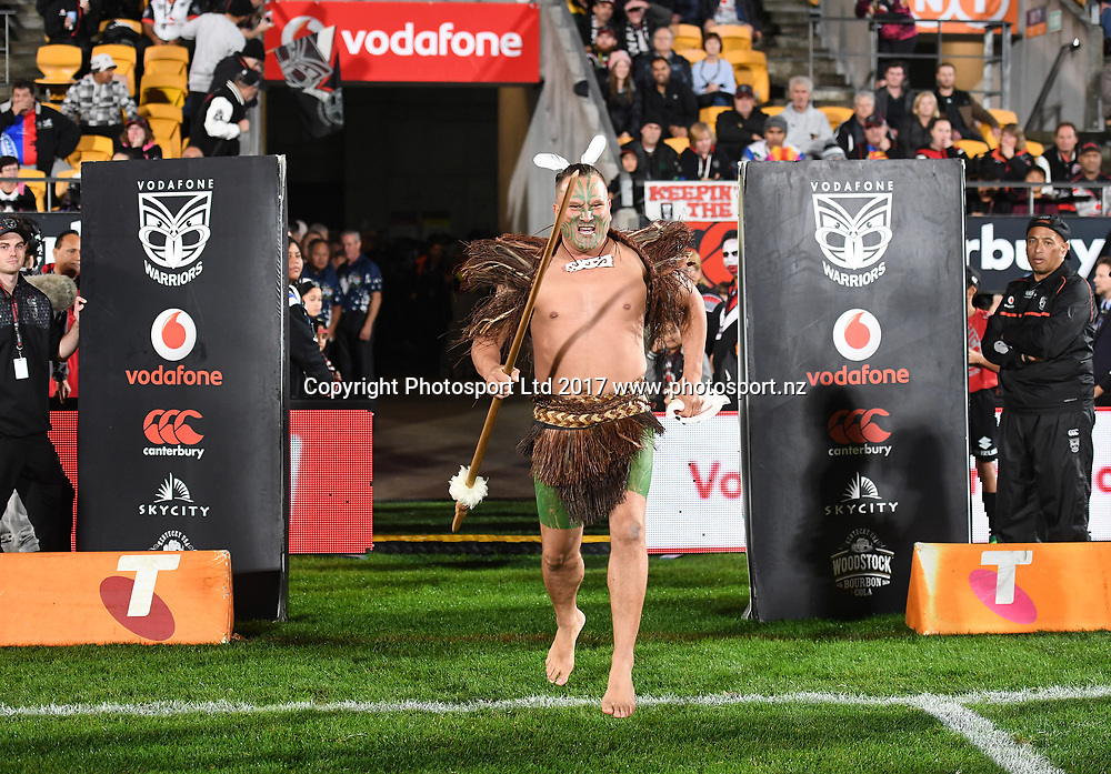 Maori Warrior before kick off.<br /> Vodafone Warriors v  Canterbury Bulldogs. NRL Rugby League. Mt Smart Stadium, Auckland, New Zealand. Friday 23 June 2017 &copy; Copyright Photo: Andrew Cornaga / www.Photosport.nz