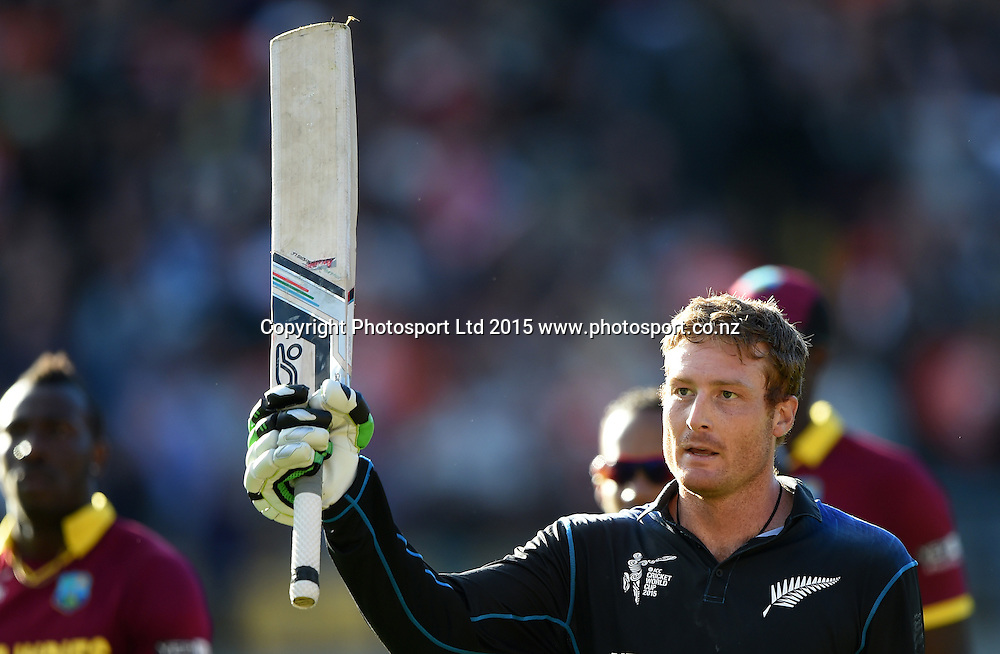 New Zealand opening batsman Martin Guptill leaves the field unbeaten on 237 during the ICC Cricket World Cup quarter final match between New Zealand Black Caps and the West Indies, Wellington, New Zealand. Saturday 21March 2015. Copyright Photo: Andrew Cornaga / www.Photosport.co.nz