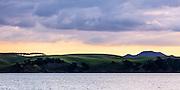 Waikalabubu Bay, northern end of Motutapu Island. Warm evening light. Row of trees and Rangitoto Island on the horizon.