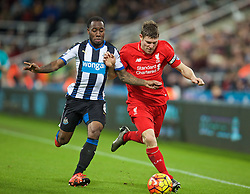 NEWCASTLE-UPON-TYNE, ENGLAND - Sunday, December 6, 2015: Liverpool's James Milner in action against Newcastle United's Vernon Anita during the Premier League match at St. James' Park. (Pic by David Rawcliffe/Propaganda)
