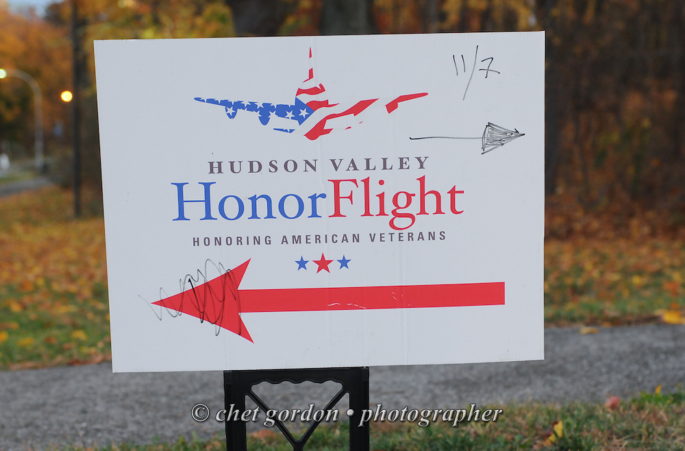WWII Veterans and their escorts during the sendoff ceremony for the Hudson Valley Honor Flight #10 at Westchester Community College in Valhalla, NY on Saturday, November 7, 2015. Sixty-four veterans from the Westchester County (NY) area toured the WWII and Marine Corps War Memorials, as well as Arlington National Cemetery. Hudson Valley Honor Flight is a chapter of the Honor Flight Network, which provides free flights for WWII Veterans and tours of the WWII Memorial constructed in their honor, and other sites in the nation's capital.  © Chet Gordon / Hudson Valley Honor Flight