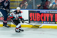 KELOWNA, BC - FEBRUARY 12: Dylan Wightman #28 of the Kelowna Rockets skates against the Tri-City Americans  at Prospera Place on February 8, 2020 in Kelowna, Canada. (Photo by Marissa Baecker/Shoot the Breeze)