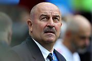 MOSCOW, MOSKAU, , MO - 01.07.2018: SPAIN VS RUSSIA - Stanislav Chercheso of Russia coach during the match between Spain and Russia, valid for the eighth round of the 2018 World Cup held at the Luzhniki Stadium in Moscow, Russia.fee liable image, copyright © ATP Rodolfo BUHRER / Fotoarena<br /> restriction applies, no sale to South America, NO BRAZIL, NO ARGENTINA, NO MEXICO <br /> <br /> SPANIEN : RUSSLAND 1:1  - FIFA Fussball-WM in Russland,