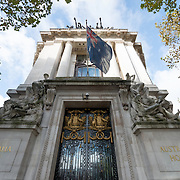 Australia House in London houses the Australian High Commission. The historic building stands prominently on the Strand in central London.