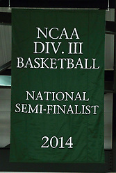 10 January 2015:  Banner acknowledging the 2013-2014 NCAA Div. III Basketball National Semi-Finalist Titans Basketball Team which was hoisted during an NCAA mens division 3 CCIW basketball game between the Carthage Reds and the Illinois Wesleyan Titans in Shirk Center, Bloomington IL