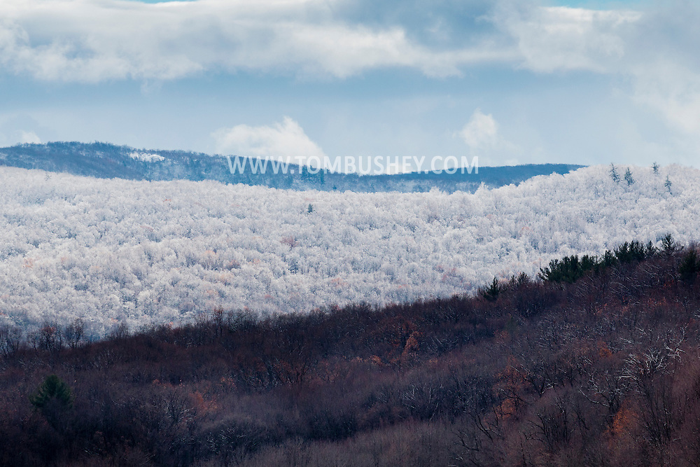 Cornwall, New York - Snow covers the trees on ridges and mountains after a snowstorm on Nov. 20, 2016.