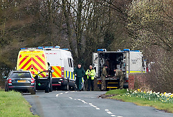 © Licensed to London News Pictures. 29/03/2016. Barlow UK. Picture shows the Army Bomb Disposal unit & police at Railway Cottages in Barlow near Selby where a quantity of suspected explosive material was found in a outbuilding this morning. Photo credit: Andrew McCaren/LNP