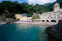 2000, San Fruttuoso, Italy --- The Beach at San Fruttuoso --- Image by © Owen Franken/CORBIS