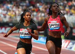 July 21, 2018 - London, United Kingdom - L-R Dezerea Bryant of USA and Jonielle Smith of Jamaica compete in the 100m Women Final during the Muller Anniversary Games IAAF Diamond League Day One at The London Stadium on July 21, 2018 in London, England. (Credit Image: © Action Foto Sport/NurPhoto via ZUMA Press)