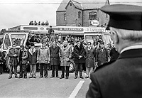 UUAC strike leaders, Rev Ian Paisley and loyalist politician Ernest Baird, join farmers blocking the town centre in Ballymena during the ongoing loyalist strike. The police took no action at the time but later arrested Paisley & Baird and charged them with obstruction. 9th May 1977. 197705090521<br /> <br /> Copyright Image from Victor Patterson, Belfast, UK<br /> <br /> t: +44 28 9066 1296 (from Rep of Ireland 048 9066 1296)<br /> m: +44 7802 353836<br /> e: victorpattersonbelfast@gmail.com<br /> <br /> www.images4media.com<br /> <br /> Please see my full Terms and Conditions of Use at https://www.images4media.com/p/terms-conditions - it is IMPORTANT that you familiarise yourself with them.<br /> <br /> Images used online incur an additional cost. This cost should be agreed in writing in advance. Online images must be visibly watermarked i.e. © Victor Patterson or that of the named photographer within the body of the image. The original metadata must not be deleted from images used online.<br /> <br /> This image is only available for the use of the download recipient i.e. television station, newspaper, magazine, book publisher, etc, and must not be passed on to a third party. It is also downloaded on condition that each and every usage is notified within 7 days to victorpattersonbelfast@gmail.com.<br /> <br /> The right of Victor Patterson (or the named photographer) to be identified as the author is asserted in accordance with The Copyright Designs And Patents Act (1988). All moral rights are asserted.