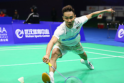 April 26, 2018 - Wuhan, Wuhan, China - Wuhan, CHINA-26th April 2018: Malaysian badminton player Lee Chong Wei competes with Anthony Sinisuka GINTING at 2018 Badminton Asia Championships in Wuhan, central China's Hubei Province, April 26th, 2018. (Credit Image: © SIPA Asia via ZUMA Wire)