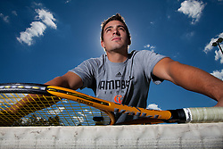 24 October 2010: German Perez, tennis player and graduate assistant coach at Campbell University. Age 23 and from Valencia, Spain. Photos taken at Campbell University.