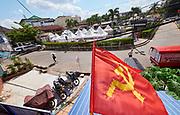 Laos, Vientiane. Communist flag.