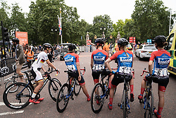 WNT Rotor Pro Cycling riders prepare for the Prudential RideLondon Classique, a 68 km road race starting and finishing in London, United Kingdom on August 3, 2019. Photo by Balint Hamvas/velofocus.com