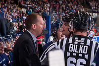 KELOWNA, CANADA - APRIL 30: Seattle Thunderbirds' head coach Steve Konowalchuk stands on the bench and speaks to referee Steve Papp against the Kelowna Rockets on April 30, 2017 at Prospera Place in Kelowna, British Columbia, Canada.  (Photo by Marissa Baecker/Shoot the Breeze)  *** Local Caption ***