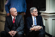Keith Gabbard, CEO of Peoples Rural Telephone Cooperative, and FCC chairman Tom Wheeler listen to a speaker at an event celebrating gigabit internet in McKee, Kentucky.