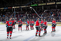 KELOWNA, CANADA - NOVEMBER 10: The Kelowna Rockets salute the fans after the win against the Vancouver Giants on November 10, 2017 at Prospera Place in Kelowna, British Columbia, Canada.  (Photo by Marissa Baecker/Shoot the Breeze)  *** Local Caption ***