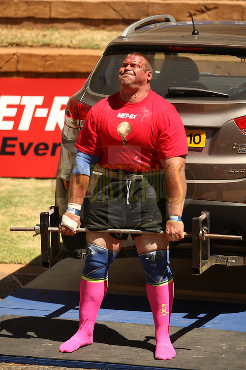 Terry Hollands (UK) shows good strength in the deadlift (for reps) during the final rounds of the World's Strongest Man competition held in Sun City, South Africa.