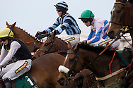 Jockeys and horses jumping the Chair fence.