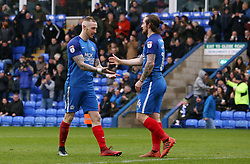 Jack Marriott of Peterborough United (right) celebrates scoring his goal with team-mate Marcus Maddison - Mandatory by-line: Joe Dent/JMP - 28/04/2018 - FOOTBALL - ABAX Stadium - Peterborough, England - Peterborough United v Fleetwood Town - Sky Bet League One