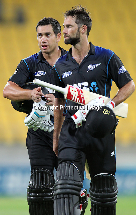 Ross Taylor & Grant Elliott leave the field following the Black Caps win. ANZ One Day International Cricket Series. Match 1 between the New Zealand Black Caps and Pakistan at Westpac Stadium, Wellington. 31st January 2015. Photo.: Grant Down / www.photosport.co.nz