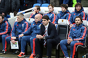 Aitor Karanka sitting on the bench during the Sky Bet Championship match between Brighton and Hove Albion and Middlesbrough at the American Express Community Stadium, Brighton and Hove, England on 19 December 2015.