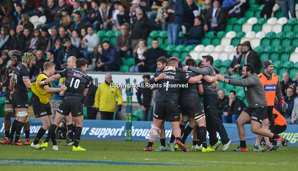22.03.2015.  Northampton, England. LV Cup Final. Saracens versus Exeter Chiefs. As the final whistle blows the Saracens team celebrate their win.