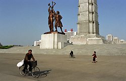 Pyonyang, North Korea, April/May 2004. Tower of the Juche Idea (Juche is the NK national philosophy, a mixture of Communism, Bhuddism and some aspects of Self Reliance) President Kim Il Sung developed the Juche philosophy. (Photo by Teun Voeten) *** Please Use Credit from Credit Field ***