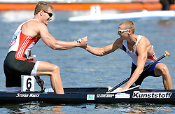 (L) STEFAN HOLTZ (GERMANY) CONGRATULATES TO (R) THOMAS SIMART (FRANCE) AFTER MEN'S C1 200 METERS FINAL A RACE DURING 2010 ICF KAYAK SPRINT WORLD CHAMPIONSHIPS ON MALTA LAKE IN POZNAN, POLAND...POLAND , POZNAN , AUGUST 22, 2010..( PHOTO BY ADAM NURKIEWICZ / MEDIASPORT ).