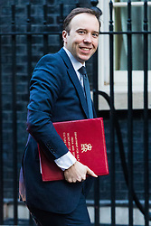 London, January 16 2018. Secretary of State for Culture, Media and Sport Matt Hancock attends the UK cabinet meeting at Downing Street. © Paul Davey