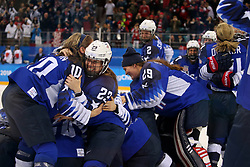 February 22, 2018 - Gangneung, South Korea - The USA team celebrates after winning the Ice Hockey: Women's Gold Medal Game against Canada at Gangneung Hockey Centre during the 2018 Pyeongchang Winter Olympic Games.  (Credit Image: © Jon Gaede via ZUMA Wire)