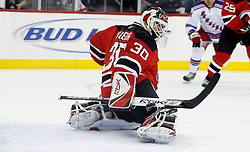 November 14, 2007; Newark, NJ, USA;  New Jersey Devils goalie Martin Brodeur (30) makes a save during the first period of the Devils game against the New York Rangers at the Prudential Center in Newark, NJ.