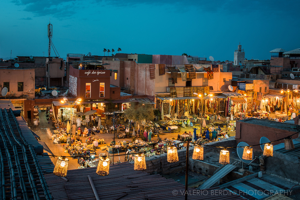 Blue hour over Rahba Kedima Square in Marrakech is renowned as Place Des Spices.