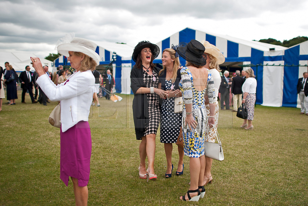 © London News Pictures. 03/07/2012.  Henley-on-Thames, UK. Spectators watch a race a on Day one of Henley Royal Regatta on the River Thames at Henley-on-Thames, Oxfordshire on July 03, 2013. Photo credit: Ben Cawthra/LNP