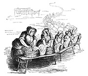(A long line of washerwomen washing a very long tablecloth)
