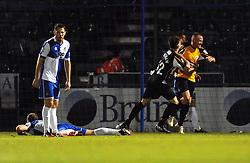 Gateshead's Matty Pattison celebrates his goal with Gateshead's Rob Ramshaw - Photo mandatory by-line: Dougie Allward/JMP - Mobile: 07966 386802 - 19/12/2014 - SPORT - football - Bristol - Memorial Stadium - Bristol Rovers v Gateshead  - Vanarama Conference