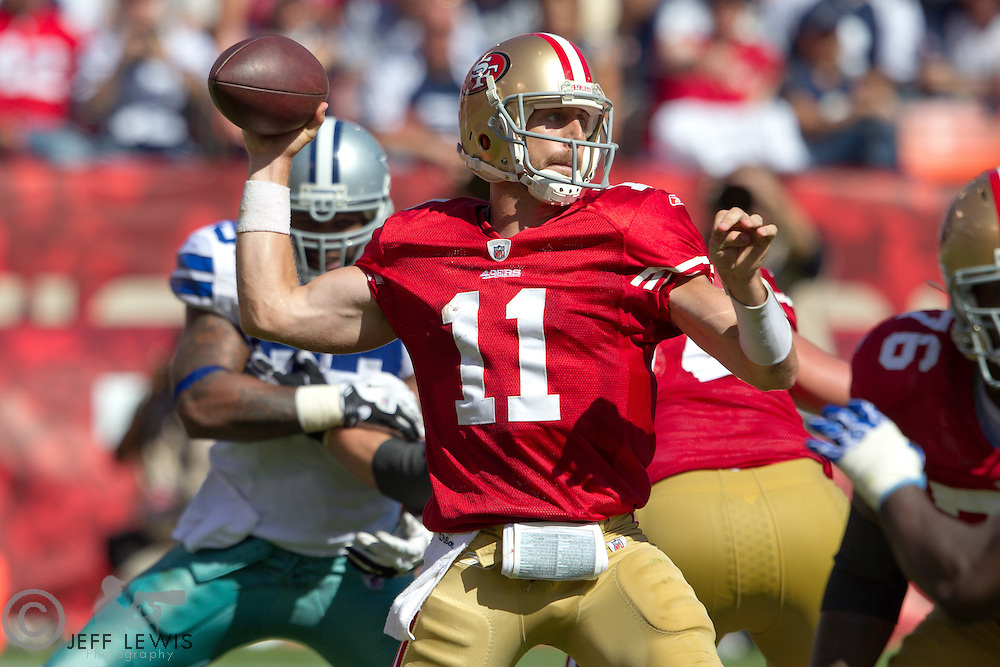 18 September 2011: Quarterback (11) Alex Smith of the San Francisco 49ers passes the ball against the Dallas Cowboys during the second half of the Cowboys 27-24 overtime victory against the 49ers in an NFL football game at Candlestick Park in San Francisco, CA.