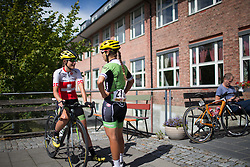 Doris Schweizer (SUI) and Carmen Small (USA) of Cylance Pro Cycling chats before the start of the 97,1 km second stage of the 2016 Ladies' Tour of Norway women's road cycling race on August 13, 2016 between Mysen and Sarpsborg, Norway. (Photo by Balint Hamvas/Velofocus)