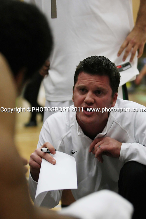 Jets Coach Ryan Weisenbreg laying down the game plan during  their NBL Game at Hamilton,,Basketball,Pistons Vs Jets, Wednesday 22 June 2011.<br /> Photo: Dion Mellow / photosport.co.nz