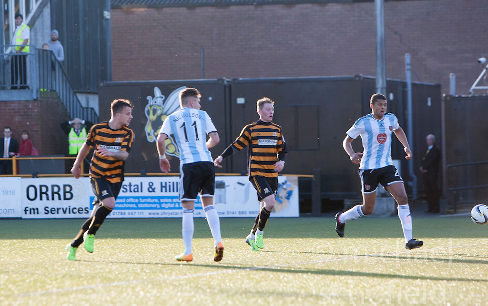 Hearts Adam Eckersley (not in pic) shot heads for Hearts goal.<br /> Alloa Athletic 0 v 1 Hearts, Scottish Championship played at Recreation Park, Alloa.