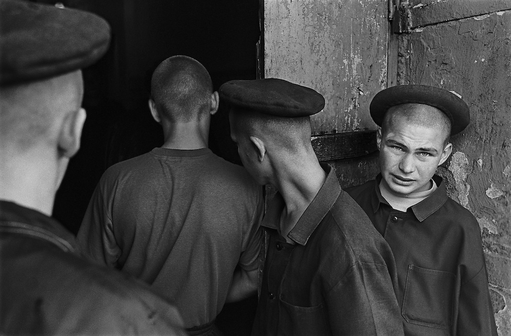 Russian young prisoners stand in the colony for prisoner's children in Siberian town Leninsk-Kuznetsky, Russia, 25 June 1999.